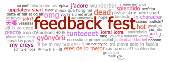 Feedback Fest speech bubble with multilanguage feedback phrases