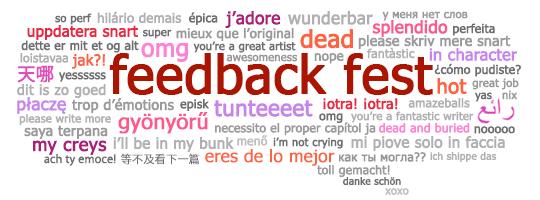 Das Banner für das Fest zum International Fanworks Day enthält Wendungen in verschiedenen Sprachen, welche verwendet werden, wenn positives Feedback für Fanwerke hinterlassen wird