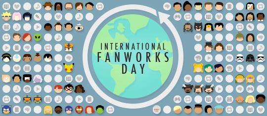 Festbanner zum International Fanworks Day, mit Fandom-Emoji und Abbildungen verschiedener Fanwerke aus aller Welt