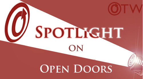 Spotlight on Open Doors title banner by Erin featuring spotlight with OTW logo