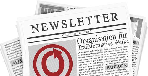 Banner von caitie mit einer Zeitung, die Name und Logos der OTW und ihrer Projekte auf der Seite zeigt.