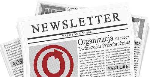 Banner wykonany przez caitie, przedstawiający gazetę z nazwą i logo OTW oraz jej projektów na stronach.