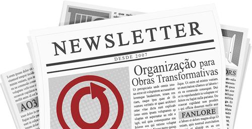 Banner feito por caitie de um jornal com o nome e a logo da OTW e de seus projetos nas páginas.