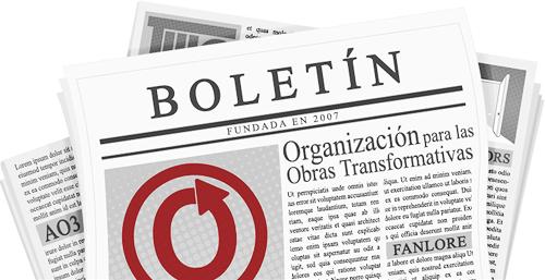 Banner hecho por caitie, de un periódico con el nombre y logos de la OTW y sus proyectos en las páginas.