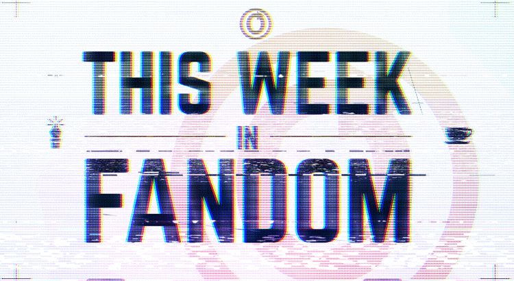 Banner by Blair depicting the words 'This Week in Fandom' as if shown through video static