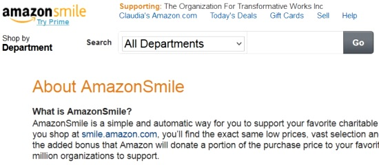 Screenshot of a user's Amazon Smile page showing the OTW as the designated charity