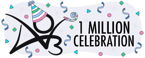 AO3 logo wearing a party hat amidst confetti with text of '1 Million Celebration'